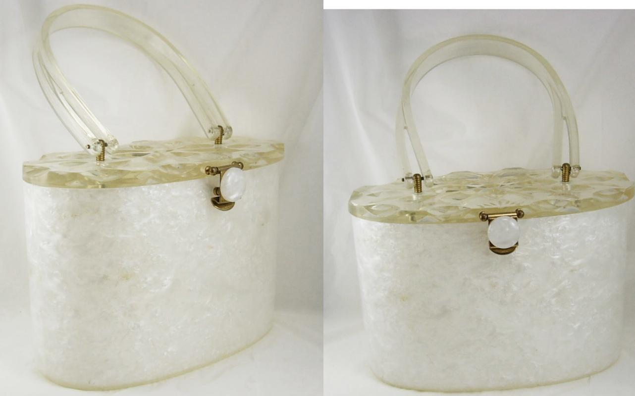 Vintage White Carved Lucite Purse Marbelized sides Carved flower top
