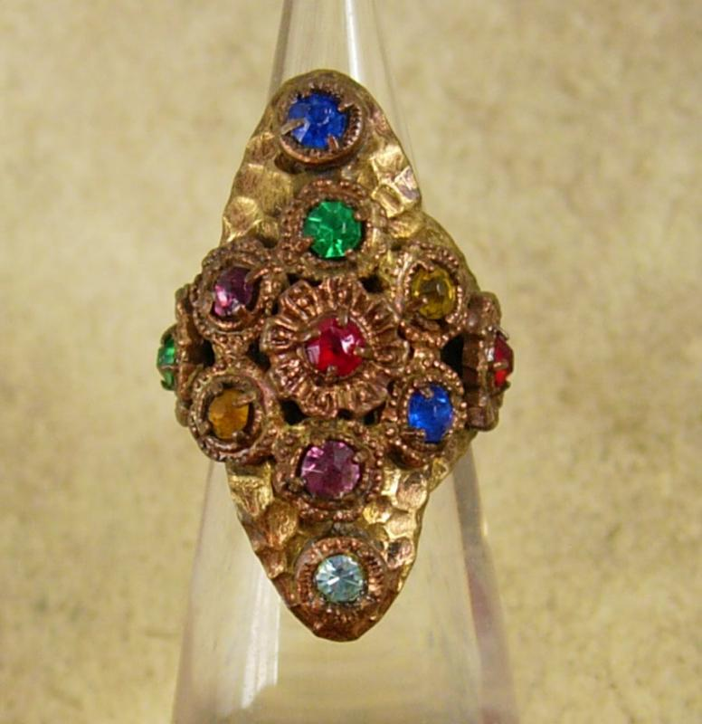Antique Czech LARGE Ring Rhinestone RING Red Blue Green hammered brass adjustable
