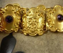 Antique Russian gold plate Ormolu Amethyst Belt jeweled bacchus Victorian greenman gargoyle Bacchus