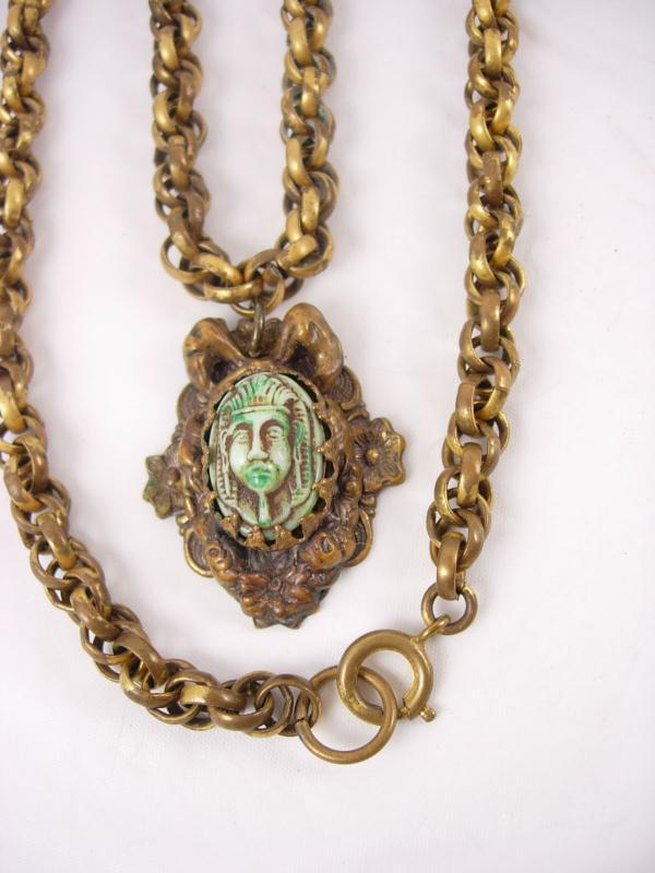 Vintage DECO Egyptian REVIVAL Czech necklace Pharaoh head