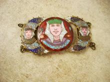 ANTIQUE ENAMEL Egyptian HEAD BUCKLE set