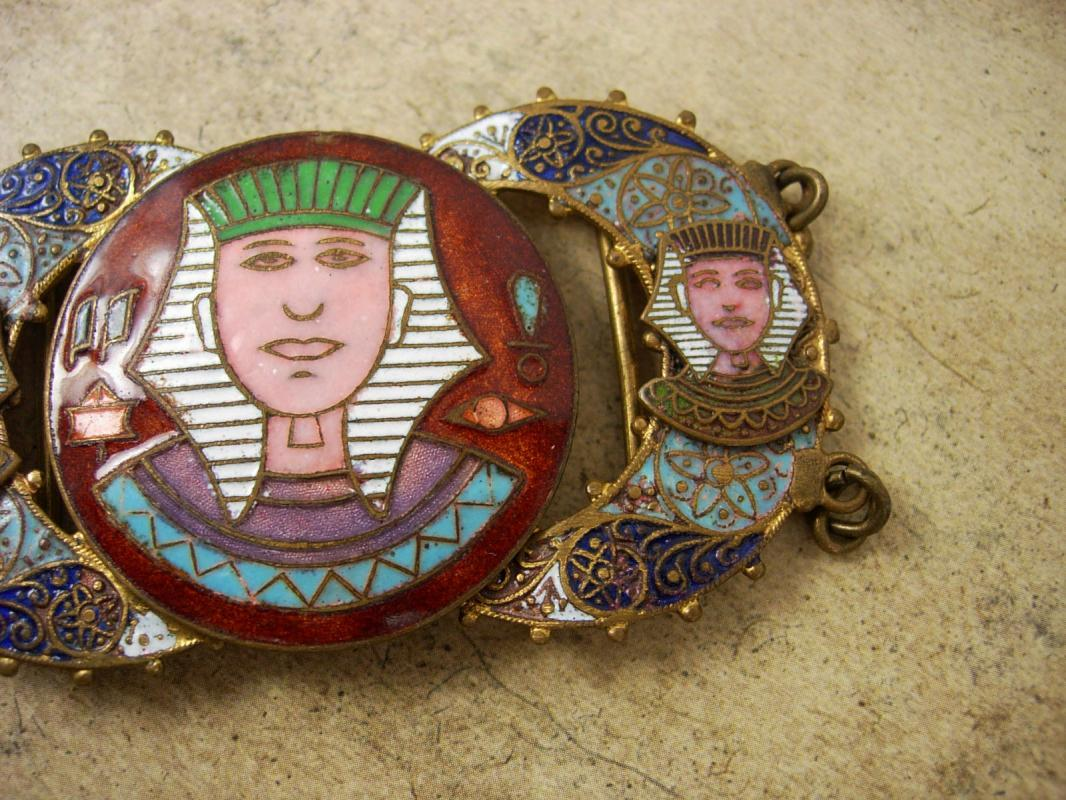 ANTIQUE ENAMEL Egyptian HEAD BUCKLE set