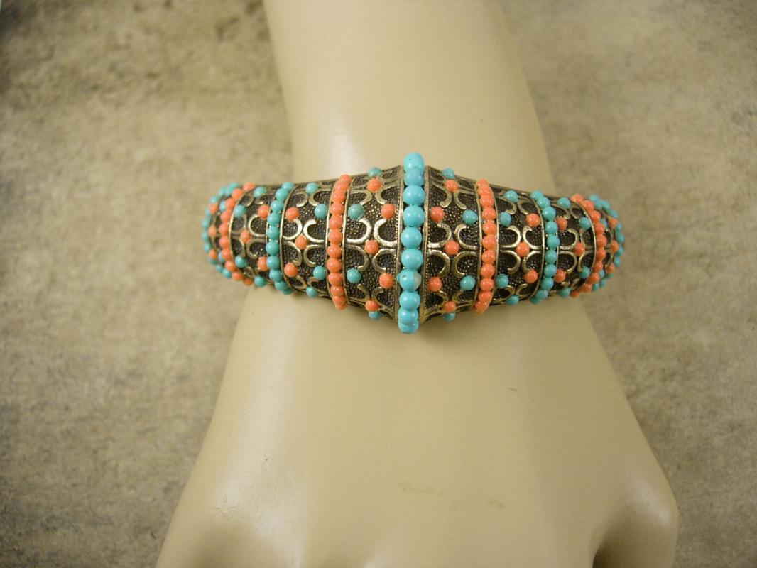 Vintage medieval  Victorian revival  bracelet Turquoise Coral hinged bangle