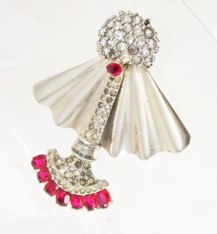 Vintage  Trifari rhinestone Brooch mechanical SWINGING faux pink ruby  pendulum
