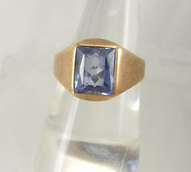 Vintage DECo 10KT GOLD blue topaz heavy ring Man or woman