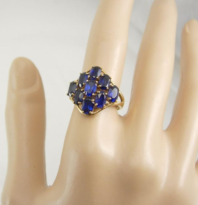 VIntage Blue sapphire Gold ring Cocktail Cluster Genuine 9 Sapphires large setting size 7 1/2