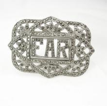 Vintage art deco Marcasite Brooch initial EAR FAR fancy setting