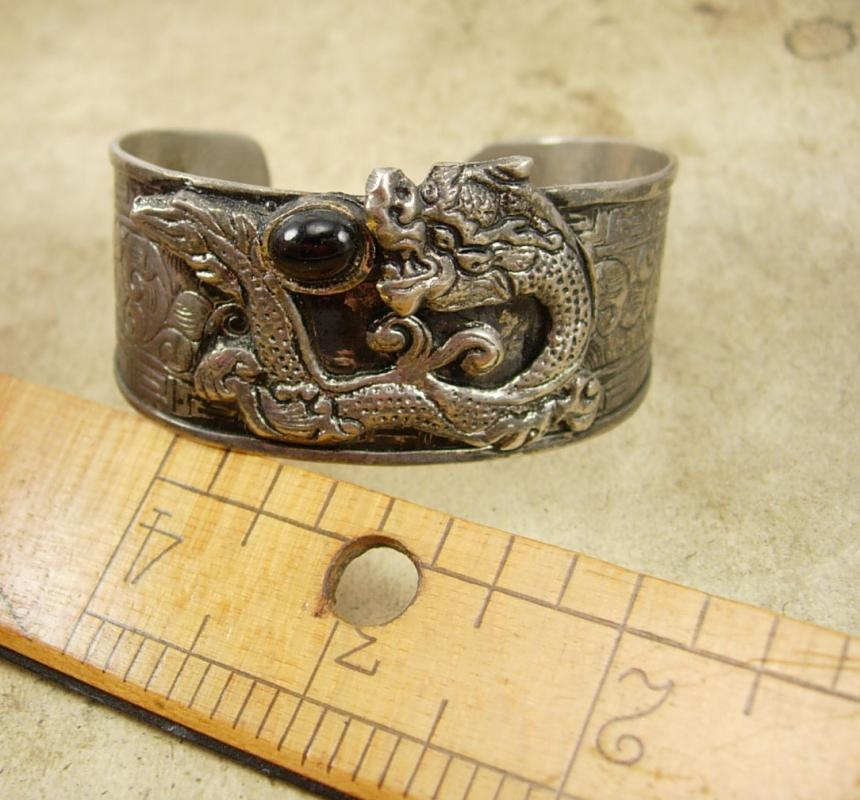 VIntage Gothic Relief DRAGON Cuff BRACELET Chinese bangle