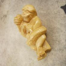 Vintage LARGE Dragon MONKEY Chinese Bead PENDANT hand carved netsuke