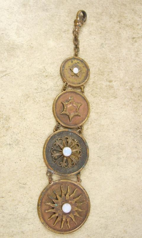 Vintage Victorian Sun genuine OPAL FOb Chain Graduated watch FOB steampunk