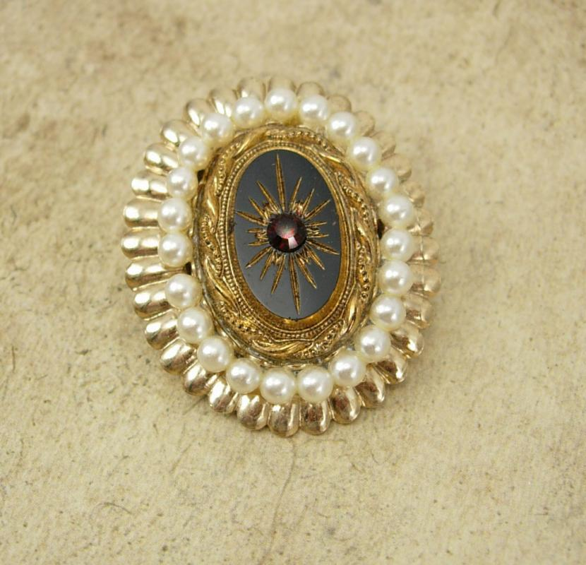 Vintage Edwardian Brooch Seed pearl Black glass garnet Rhinestone gold glass