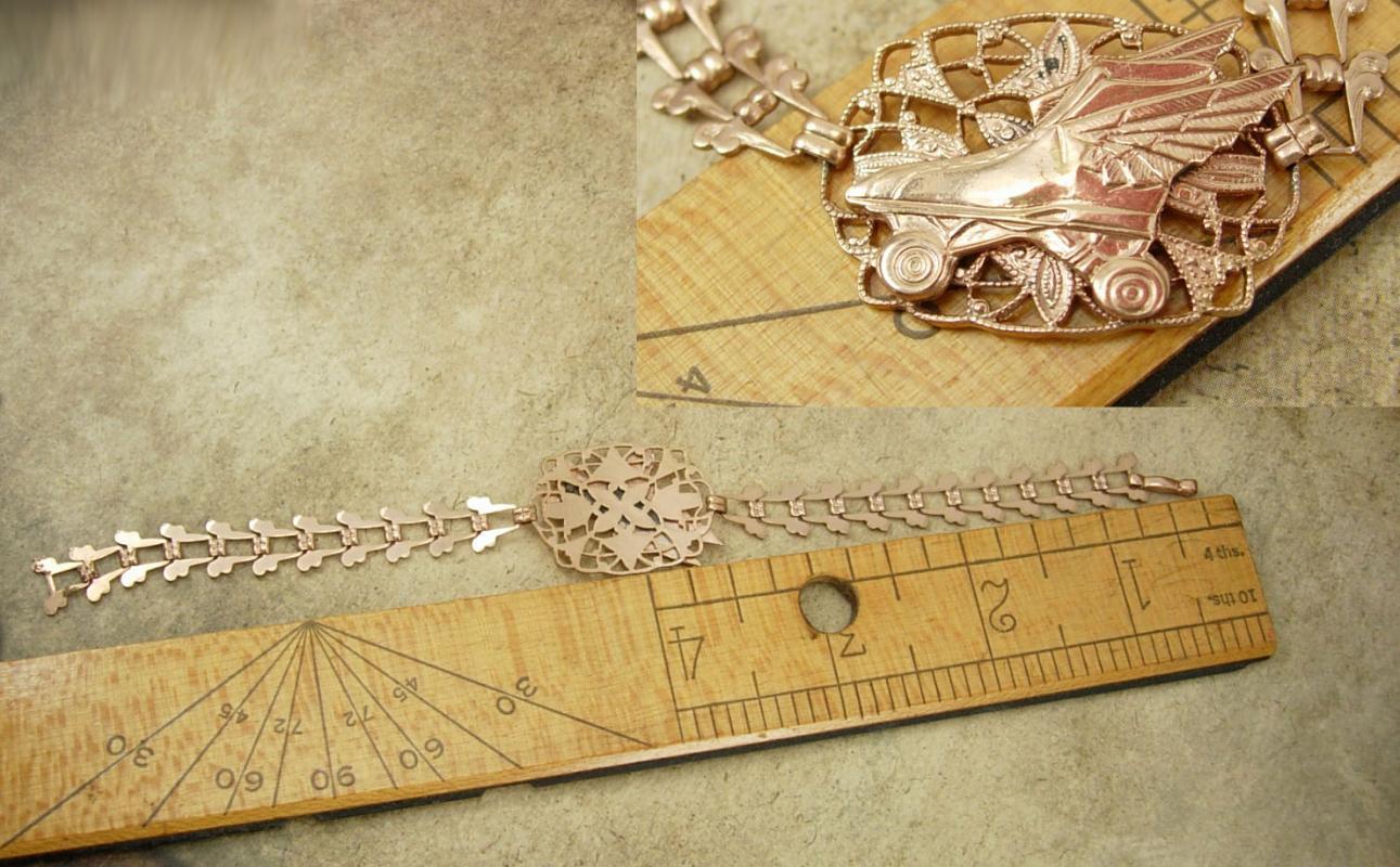 Vintage 14kt ROSE gold VICTORIAN Bookchain bracelet winged skates roller rink