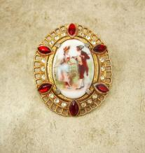 Large Vintage jeweled Victorian fur clip Portrait with red rhinestones dress clip