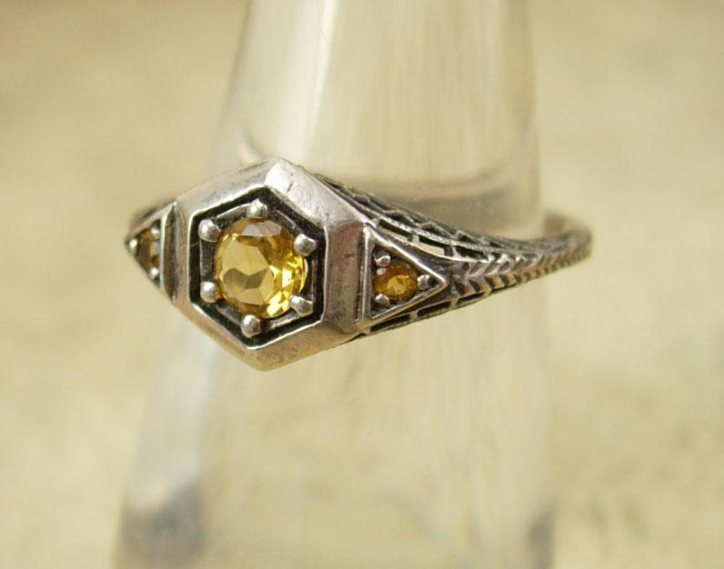 Vintage sterling DECO Ring  Genuine Citrine 3/4 ct pierced metal filigree size 7