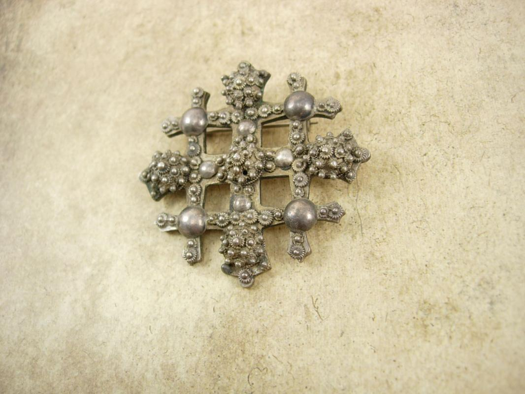 Antique Byzantine Cross Brooch SIGNED Etruscan sterling