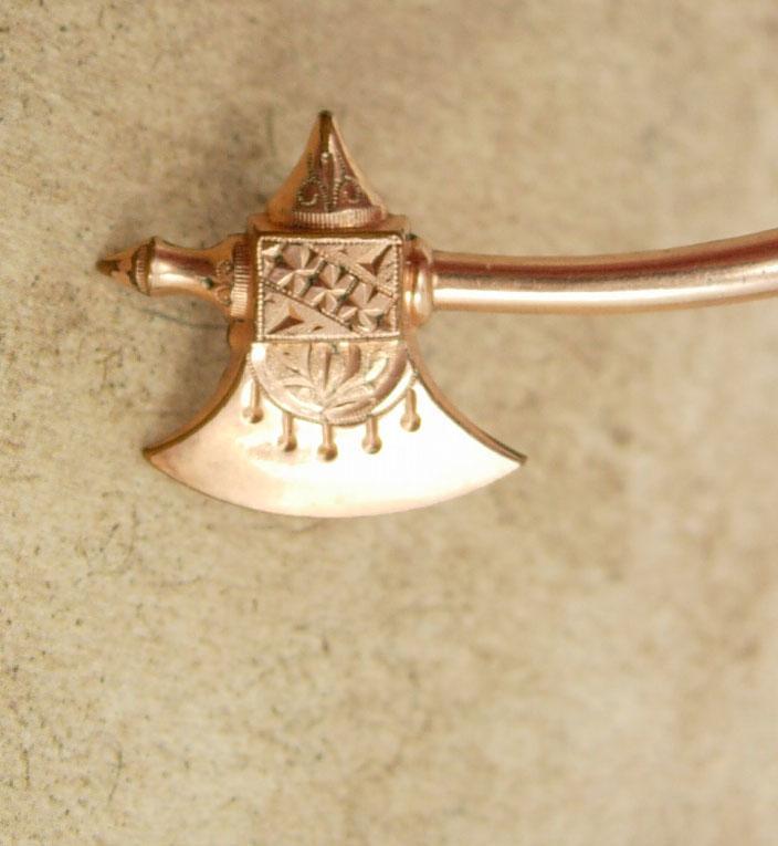 Antique 1800's brooch rose GOLD Victorian BATTLE Axe hatchet