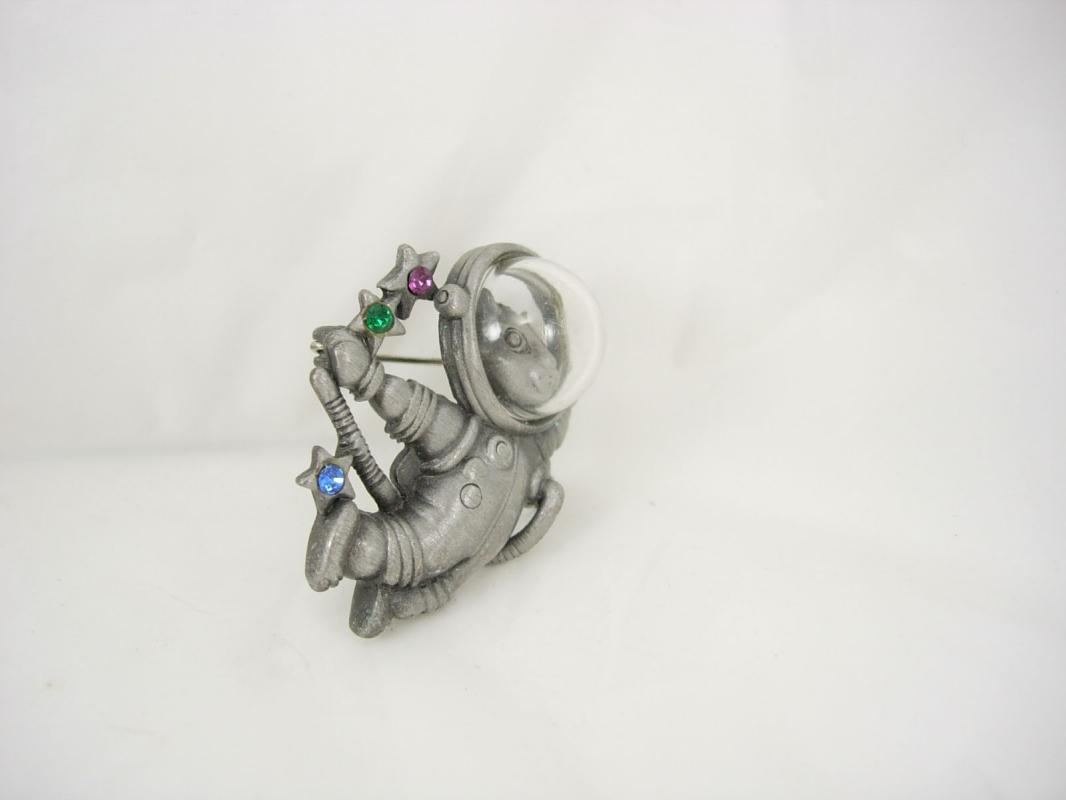 Vintage Whimsical Space Cat brooch astronaut with face mask rhinsestone stars signed