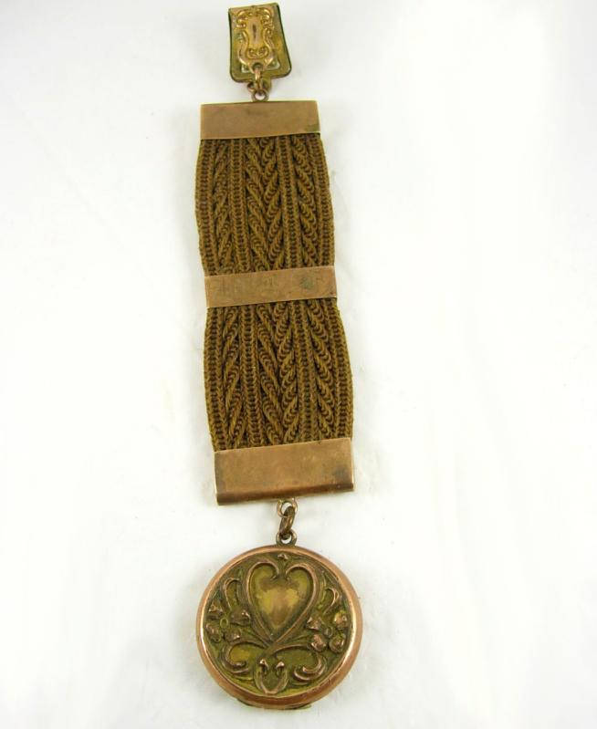 Antique memorial HAIR WORK locket watch chain Dated sweetheart heart front