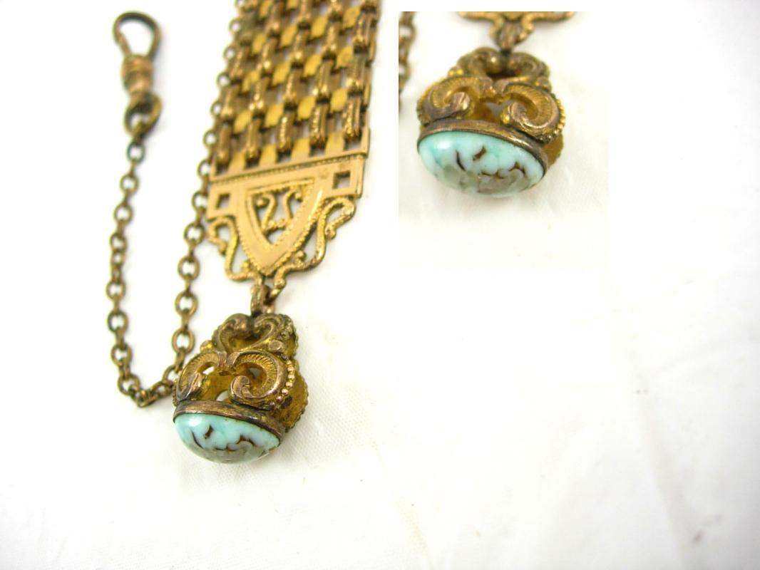 ANtique watch fob turquoise fob fancy watch chain victorian fob