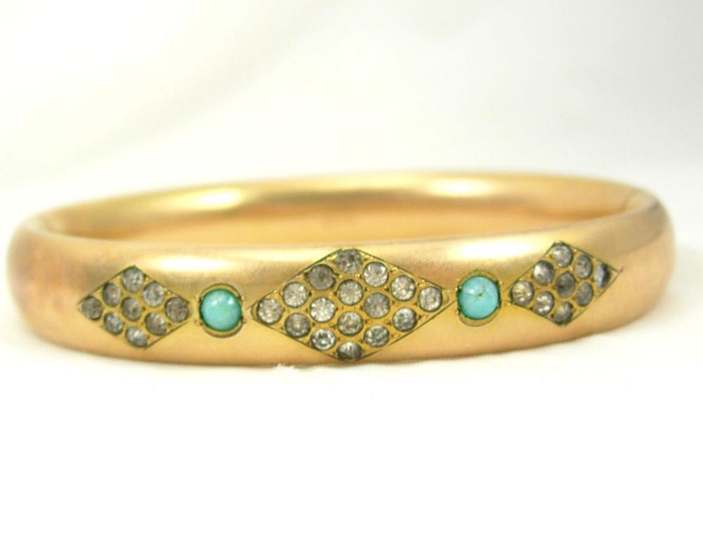 Vintage Edwardian Bracelet 9KT GOLD filled Turquoise and paste stones