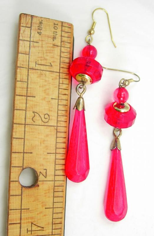 Vintage faceted earrings Shoulder duster Faceted cranberry red chandeliers