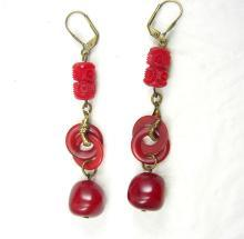 Vintage Egyptian REVIVAL Earrings  RED bakelite SNAKE Drop