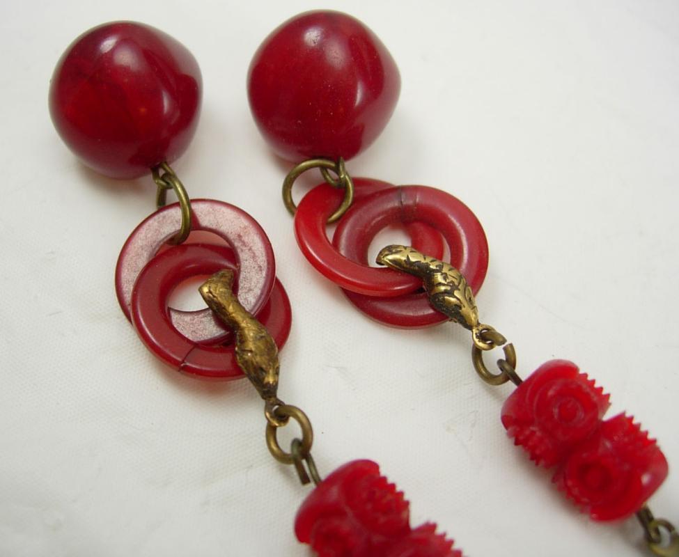 Vintage Egyptian REVIVAL Earrings  RED bakelite SNAKE Drop