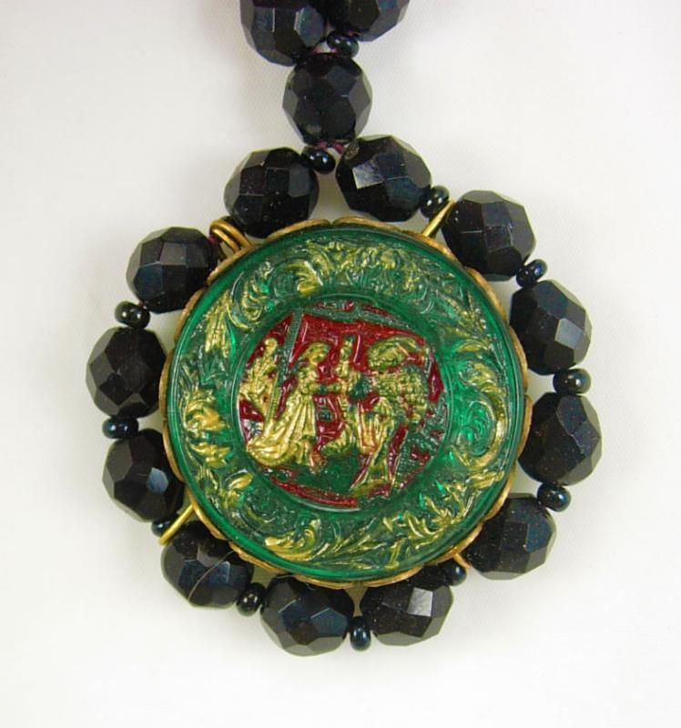 Vintage BLACK renaissance figural Necklace Sir Lancelot and Guinevere