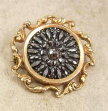 Antique Victorian Brooch mourning black jet lamode button pin
