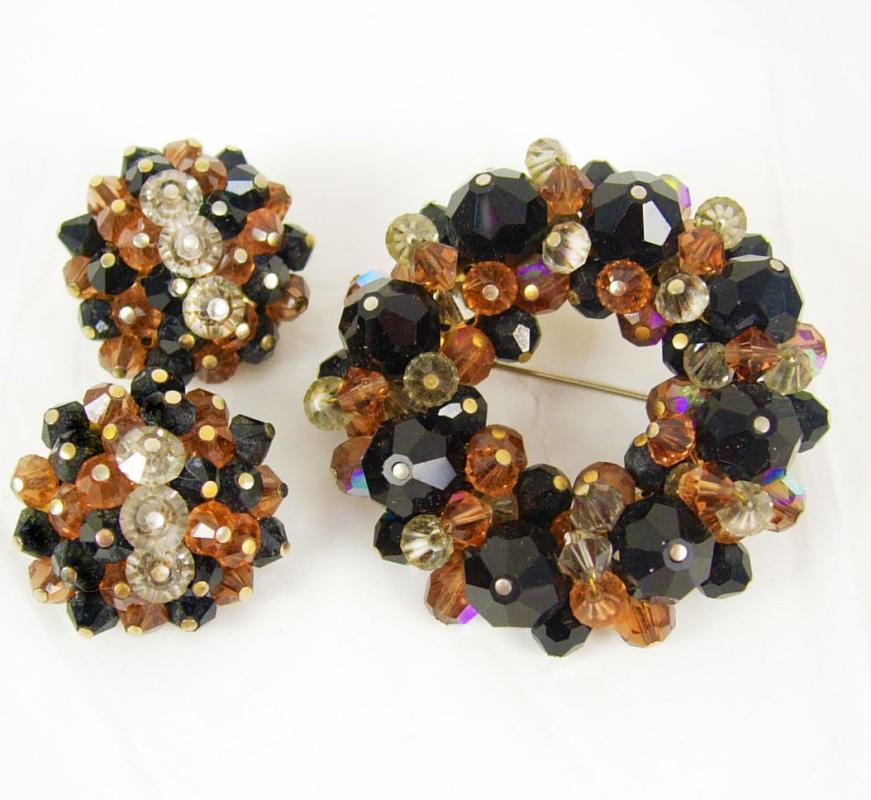 Laguna SIGNED CHUNKY Brooch earrings Glass DEMI Parure Glitzy Vintage
