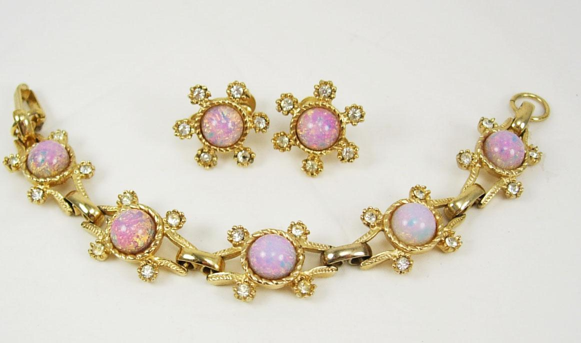 vintage 1930-40's Demi Parure Bracelet dragons breath opal rhinestone