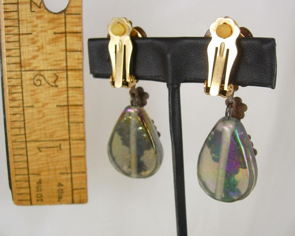 Vintage VIctorian Cherub Earrings with aurora borealis sea glass chandelier drops