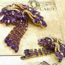 Vintage SIGNED Brooch HOBE HUGE extravagant Chandelier rhinestone purple tassels