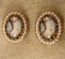 Vintage Marie Antoinette earrings Edwardian seed pearl clip on West Germany