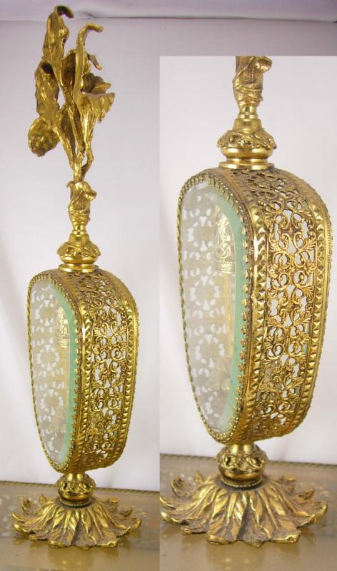 Huge antique Ormolu Perfume bottle Footed bottom beveled glass Art nouveau