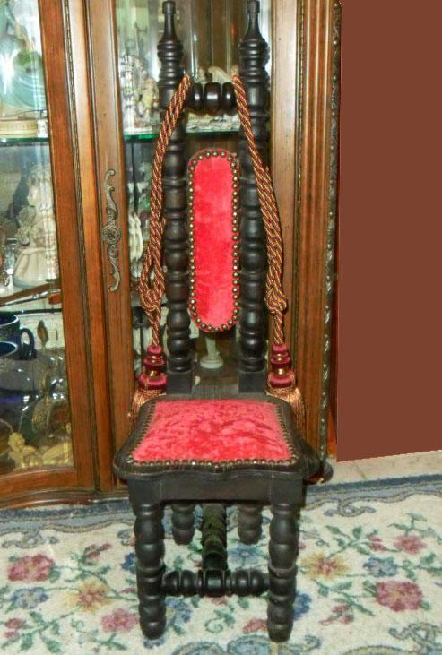 Antique Child Chair Red velvet Kings Throne for little folks Queen or  princess - Antiques, Art, Vintage