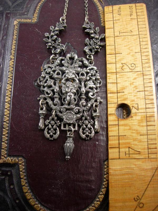 Antique renaissance Necklace  Cherub figural chandelier drop necklace
