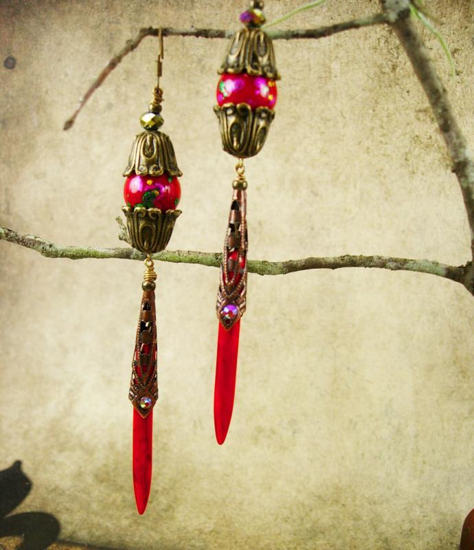 Long RED Chinese lantern Earrings shoulder duster chandeliers