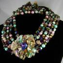 Vintage Statement necklace Earrings gemstones pearls chandelier drops HUGE set