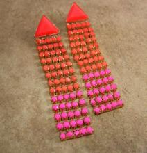 Vintage PINK earrings HOT pink rhinestone bohemian chandelier fluorescent shoulder duster bohemian drops pierced