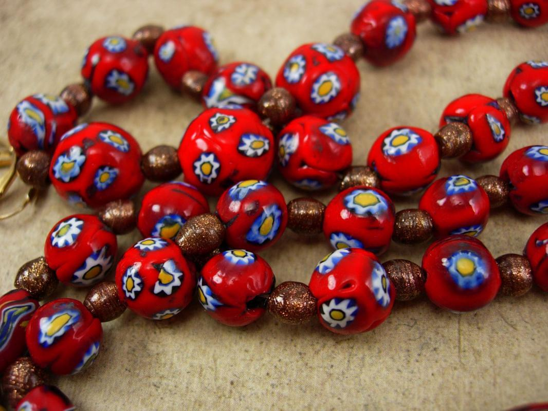 Vintage millefiori necklace earrings RED with goldstone pearls