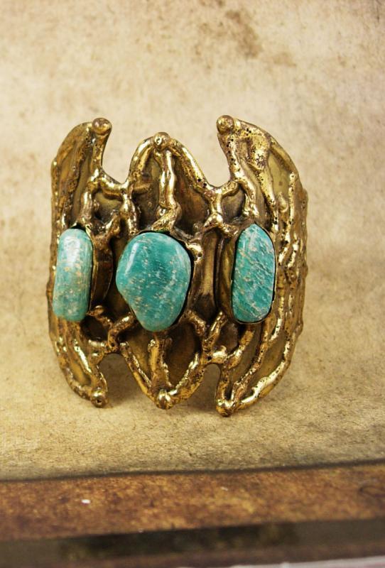 Vintage Bat Bracelet HUGE turquoise winged cuff modernist
