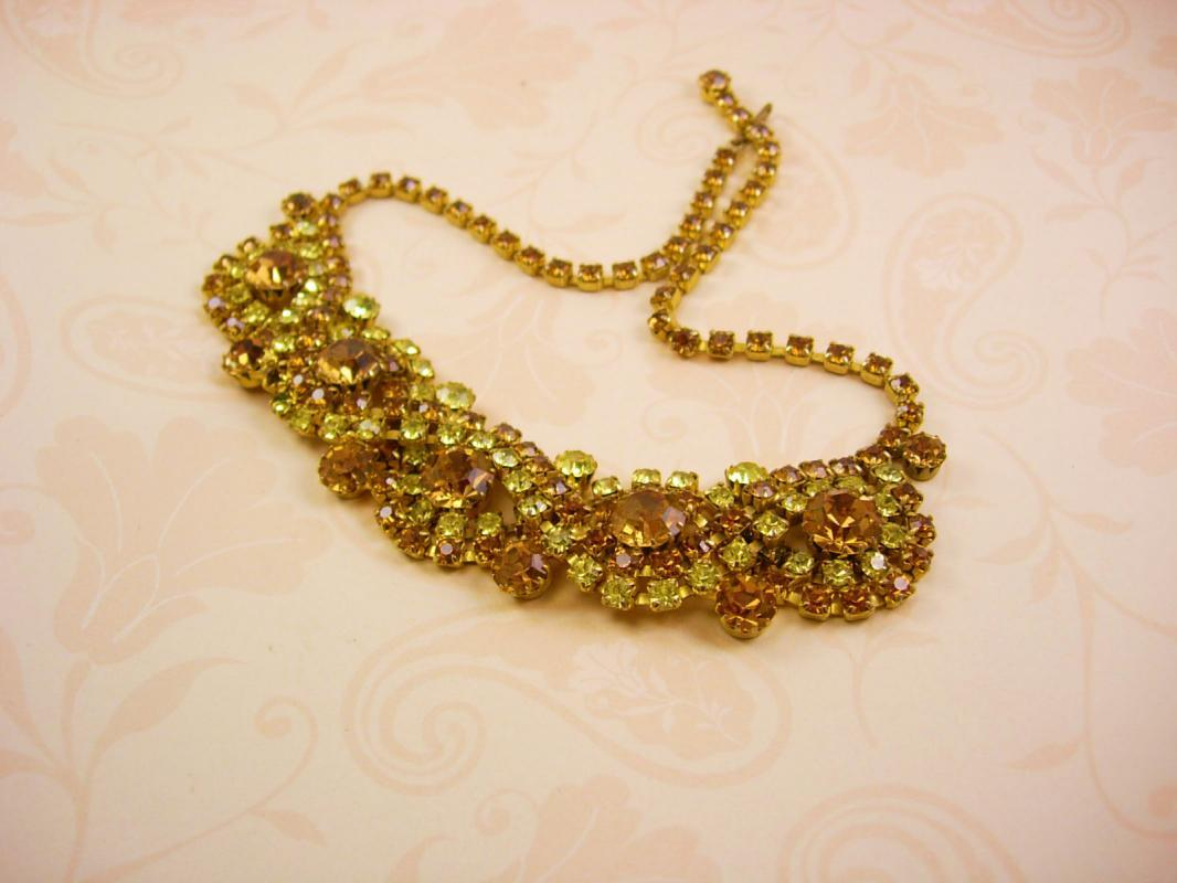 Vintage Rhinestone bib necklace layers of yellow glass