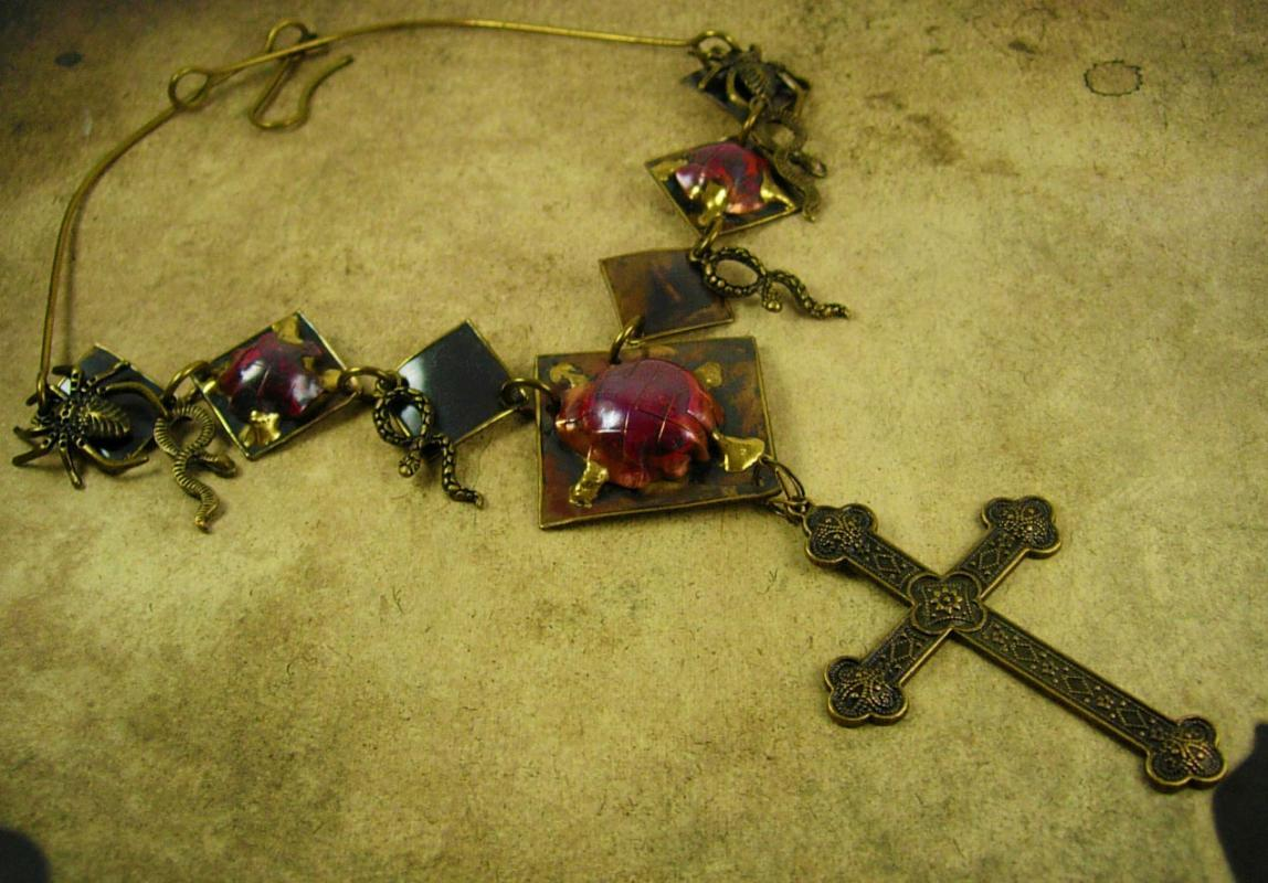 Bizarre Spider Snake Necklace Gothic Cross Hand enameled