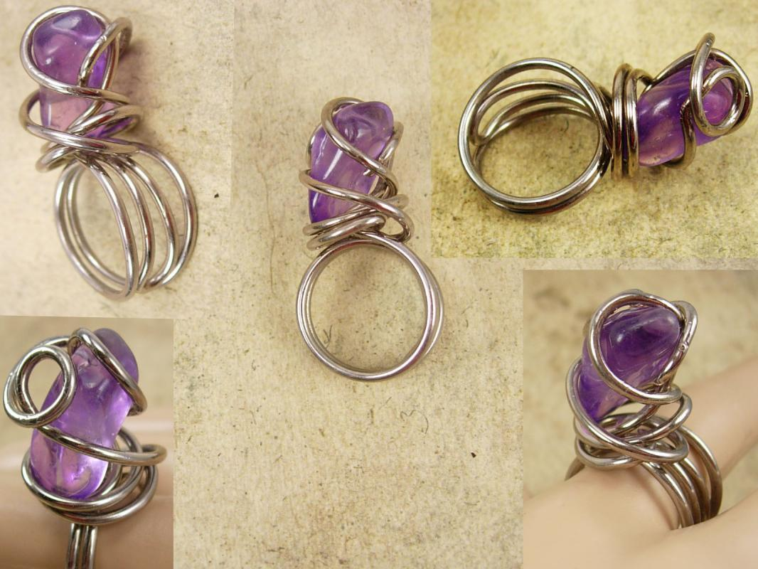Large Genuine Amethyst Modernist ring sterling size 8-9