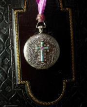 Marie Antoinette pocketwatch locket necklace Guilloche enamel rosary cross