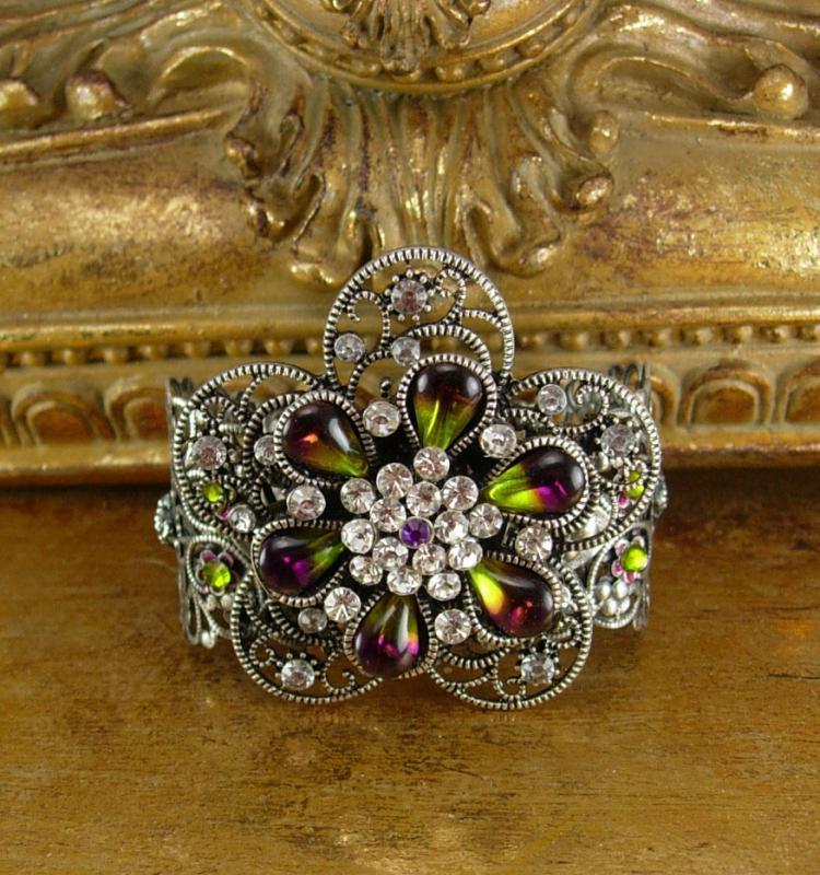 WIDE Rhinestone Gypsy Cuff BRacelet Givre purple olivine teardrops of a goddess