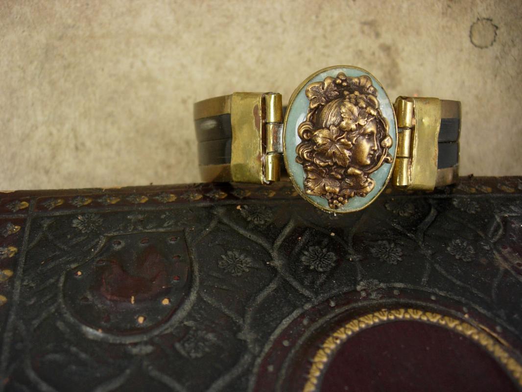 Vintage Art Nouveau Bracelet mucha goddess on adventurine