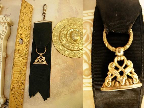 Antique Victorian Watch fob chain gold filled mourning ribbon