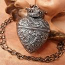ANtique 1900's Sacred Heart Vinaigrette locket necklace sterling with crown Victorian